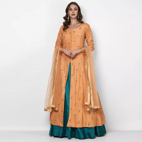 Beautiful Peach-Turquoise Blue Colored Partywear Embroidered Tapeta Silk Lehenga Kameez