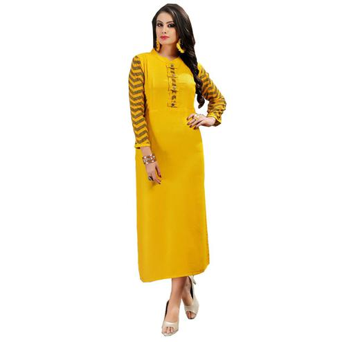 Glowing Yellow Colored Casual Wear Printed Rayon Kurti