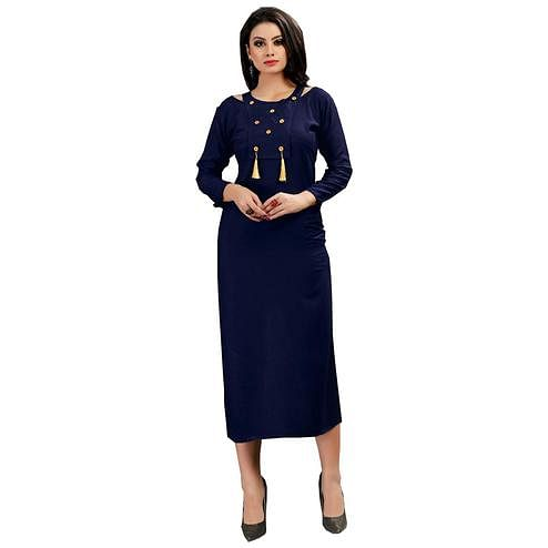 Radiant Blue Colored Casual Wear Printed Rayon Kurti