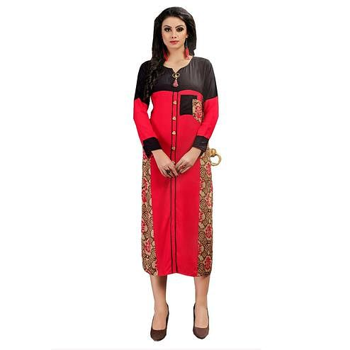 Refreshing Red Colored Casual Wear Printed Rayon Kurti