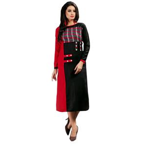 Graceful Black-Red Colored Casual Wear Printed Rayon Kurti