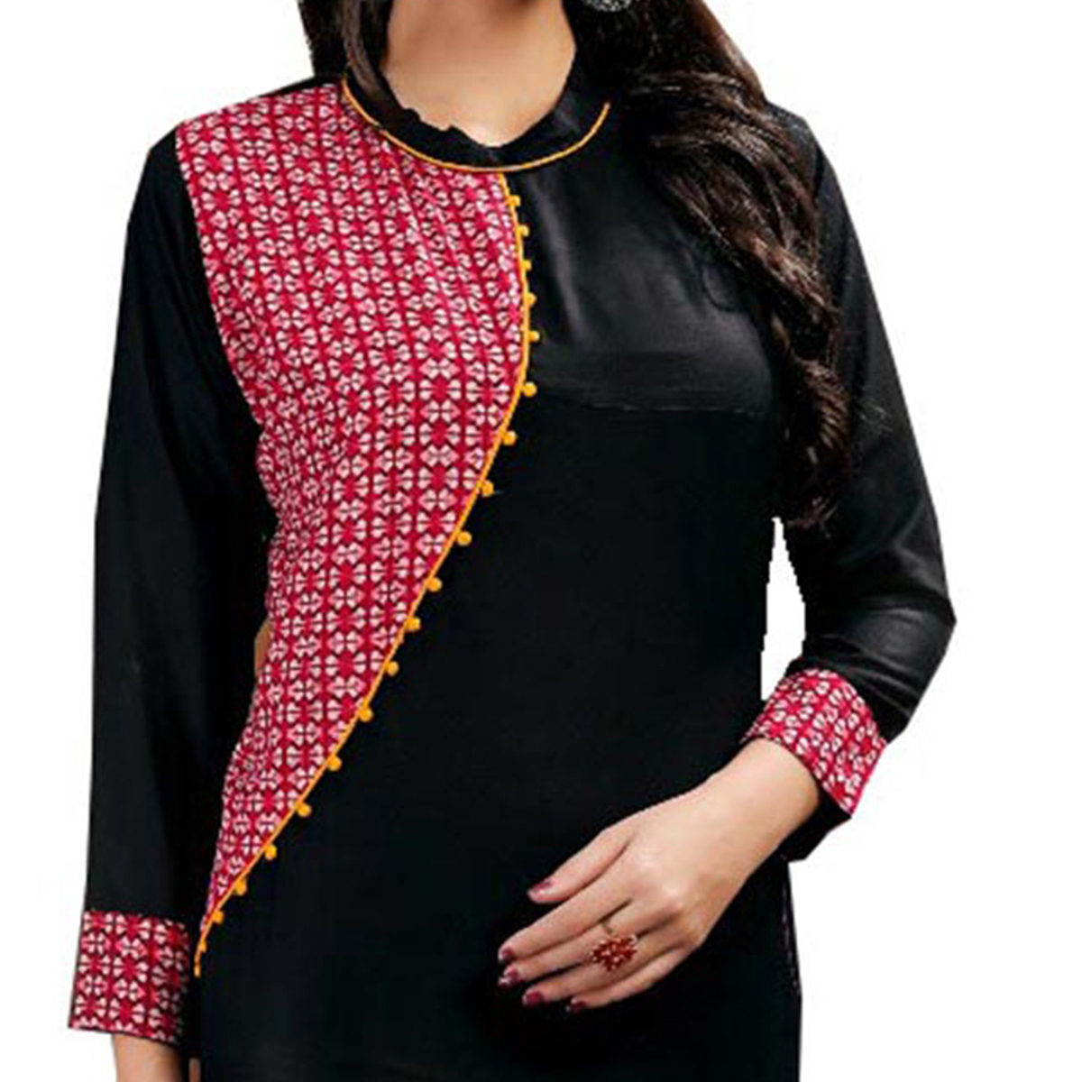 Elegant Black Colored Casual Wear Printed Rayon Kurti