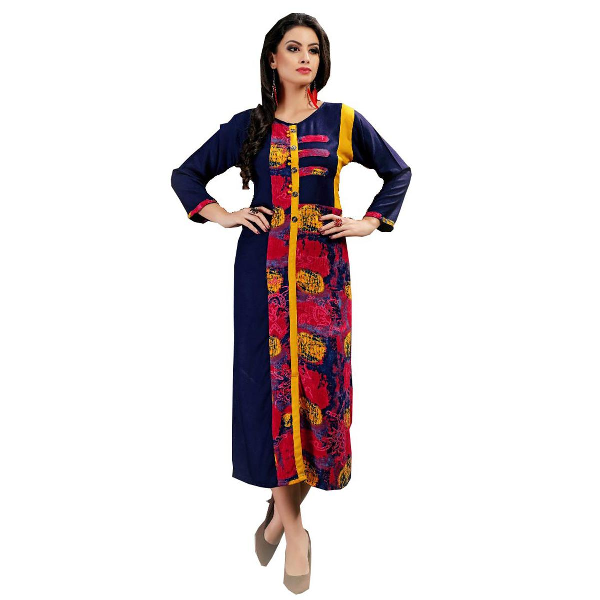 Adorning Blue Colored Casual Wear Printed Rayon Kurti