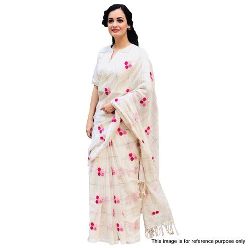 Desiring White Colored Embroidered Modal Saree