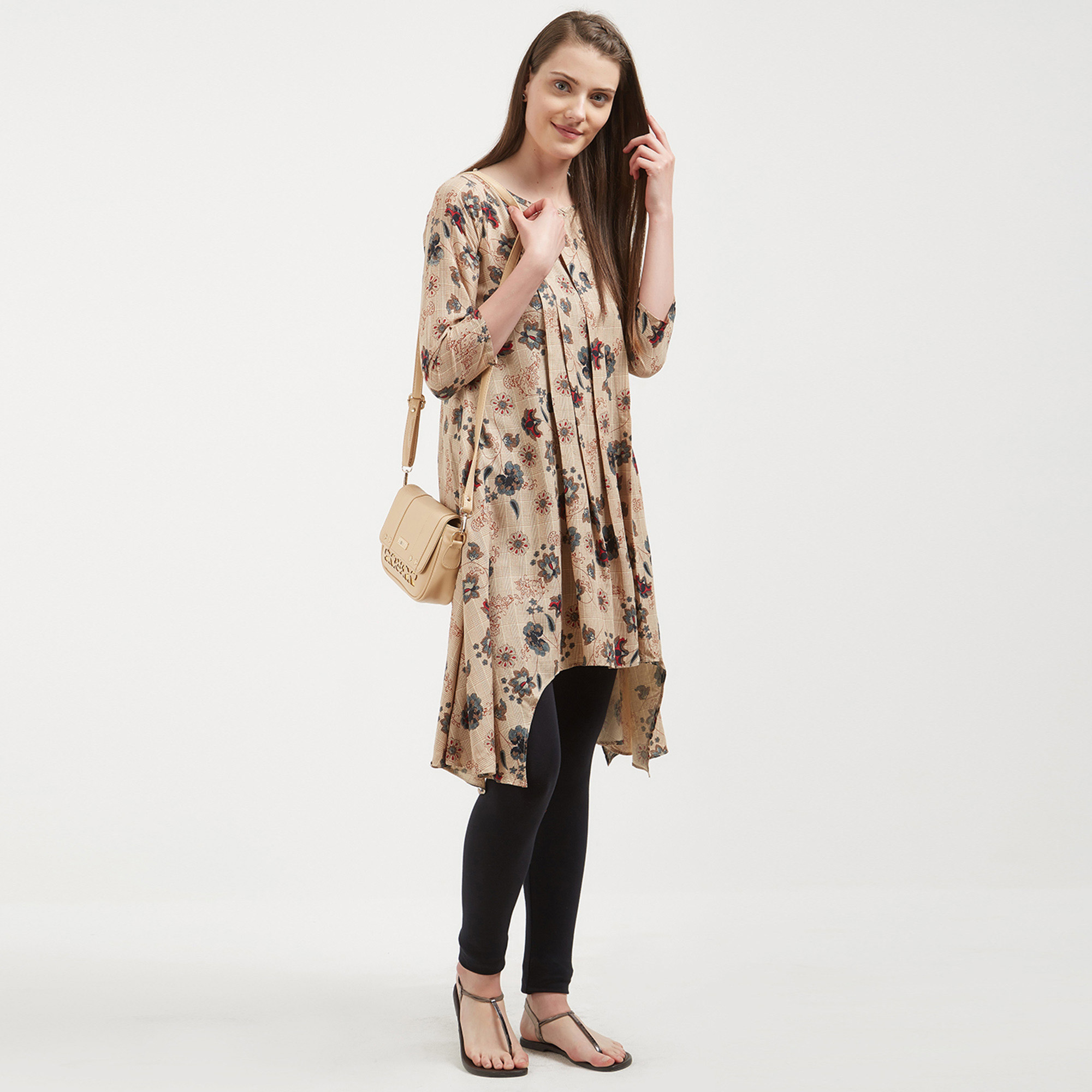 Classic Beige Colored Casual Wear Printed Tunic