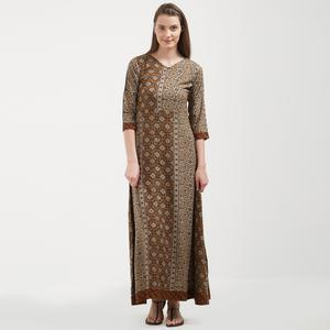 Gorgeous Brown Colored Casual Wear Printed Kurti