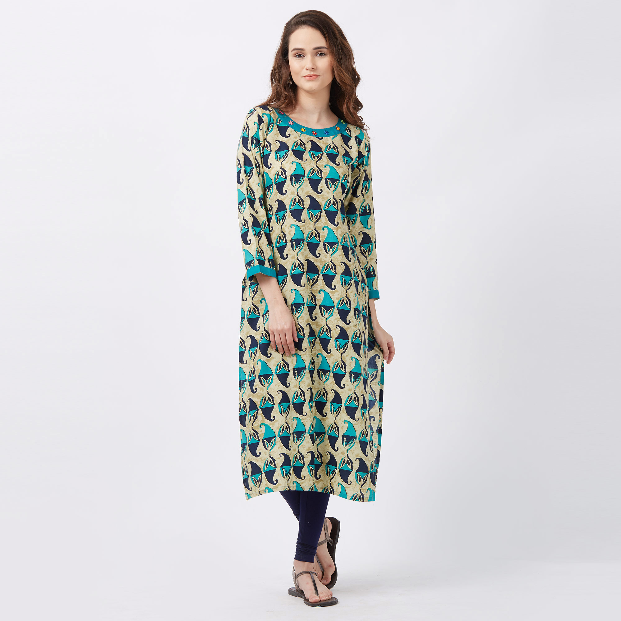 Classy Beige-Blue Colored Printed Casual Wear Rayon Kurti