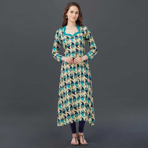 Gorgeous Blue-Beige Colored Printed Casual Wear Rayon Kurti