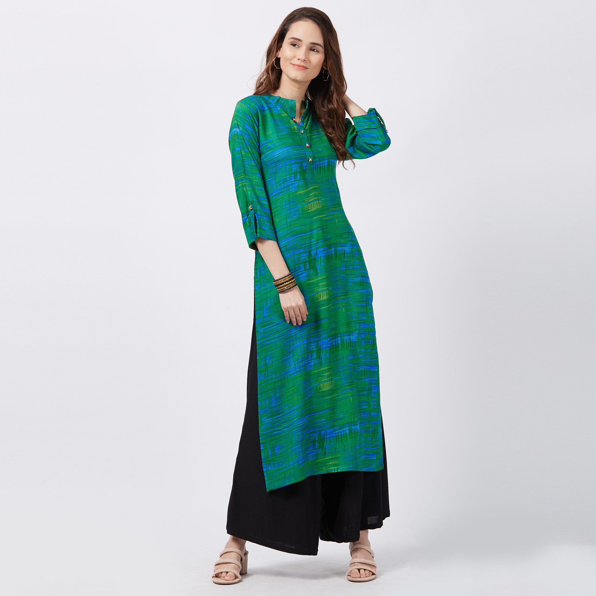 Refreshing Green Colored Printed Casual Wear Rayon Kurti