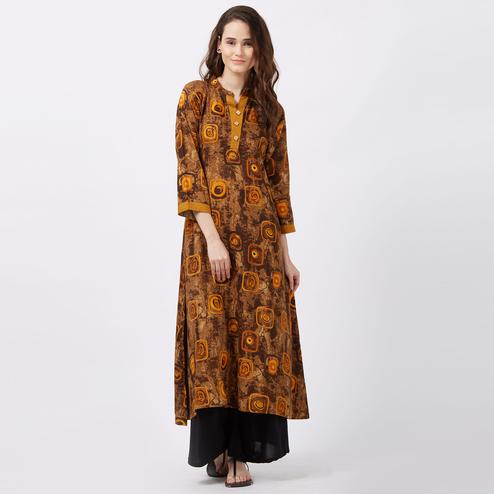 Magical Brown Colored Printed Casual Wear Rayon Kurti