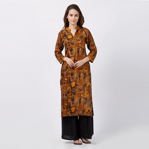 Mystic Brown Colored Printed Casual Wear Rayon Kurti
