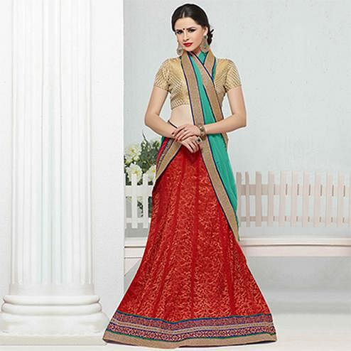 Red Green Festive Wear Jacquard Lehenga Choli