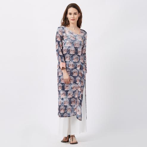 Precious Grey Colored Printed Casual Wear Rayon Kurti