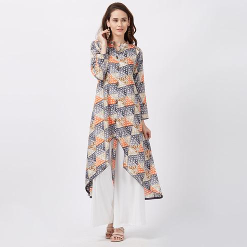 Classy Grey Colored Printed Casual Wear Rayon Kurti