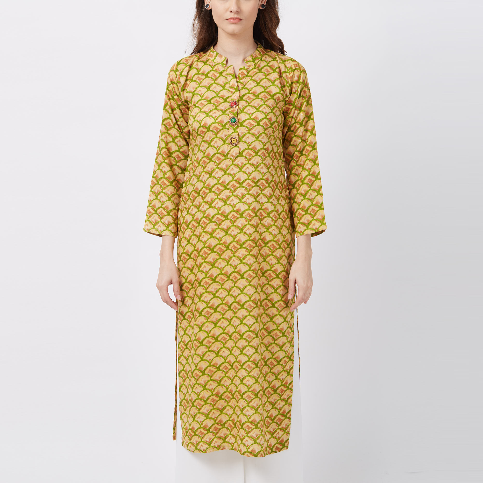 Vivid Yellow Colored Printed Casual Wear Rayon Kurti