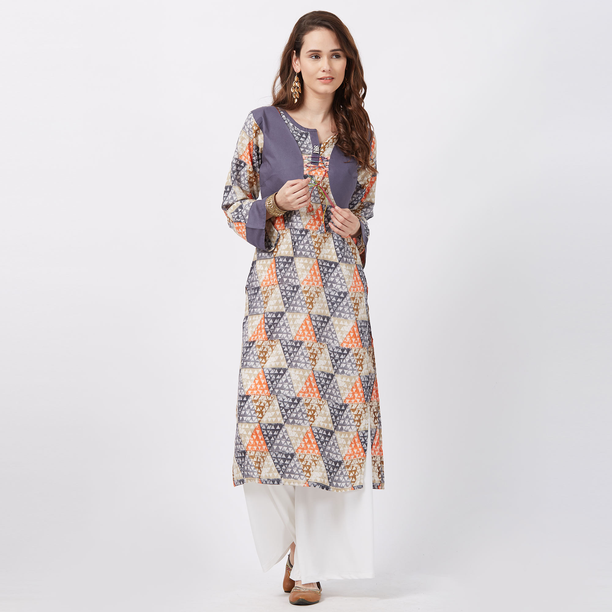 Beautiful Grey Colored Printed Casual Wear Rayon Kurti