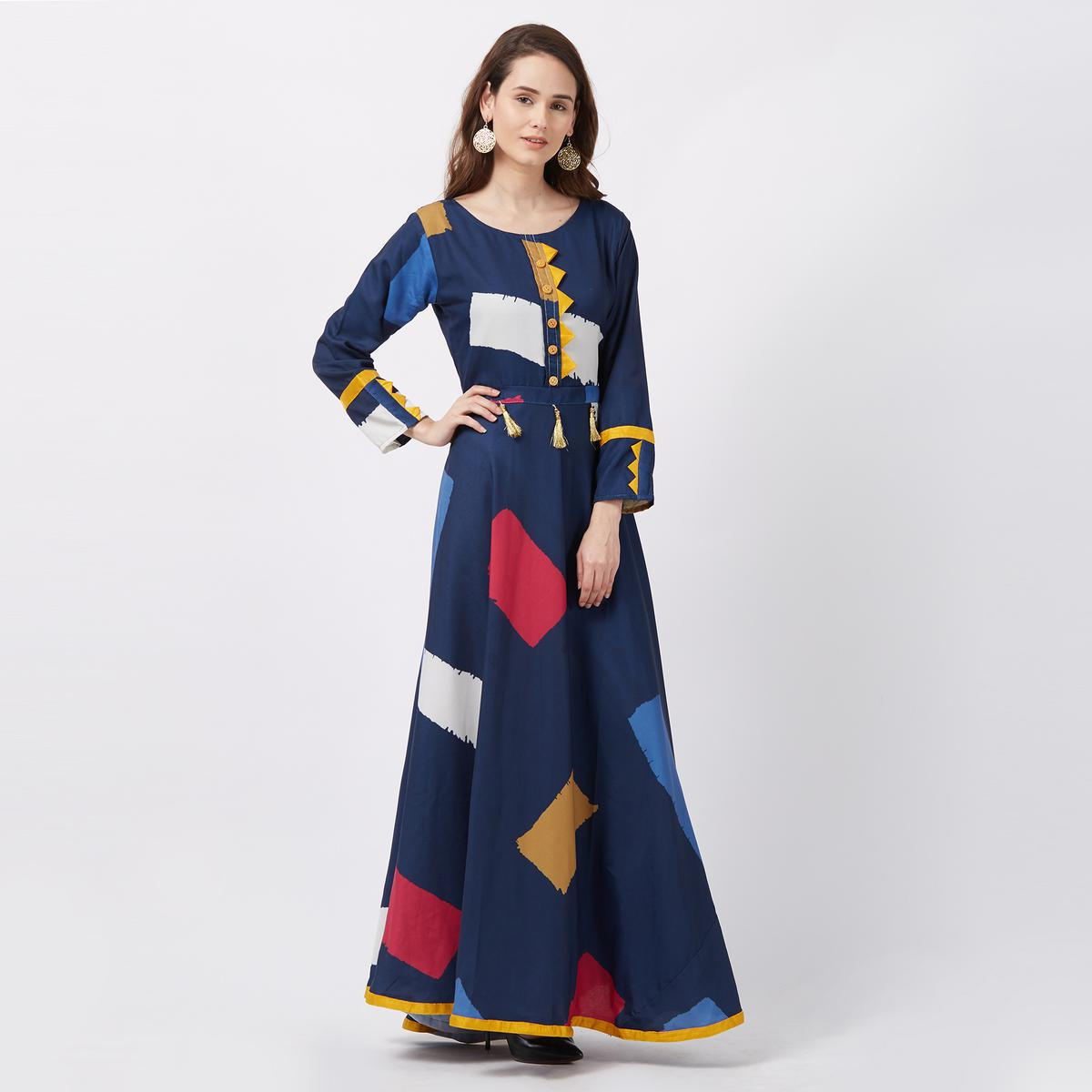 Amazing Navy Blue Colored Printed Poly Rayon Casual Wear Kurti
