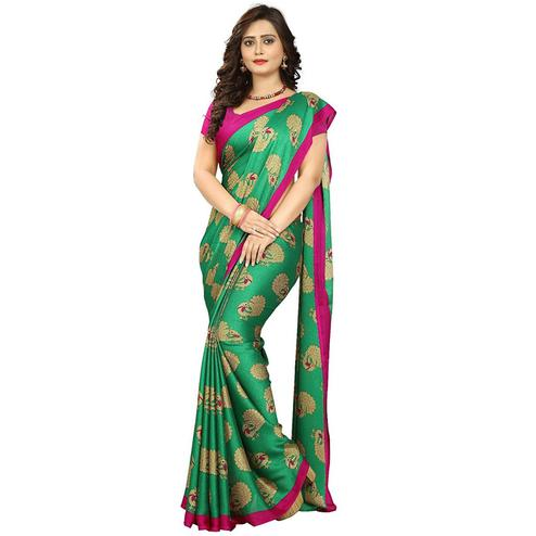 Adorning Green Colored Casual Printed Art Silk Saree