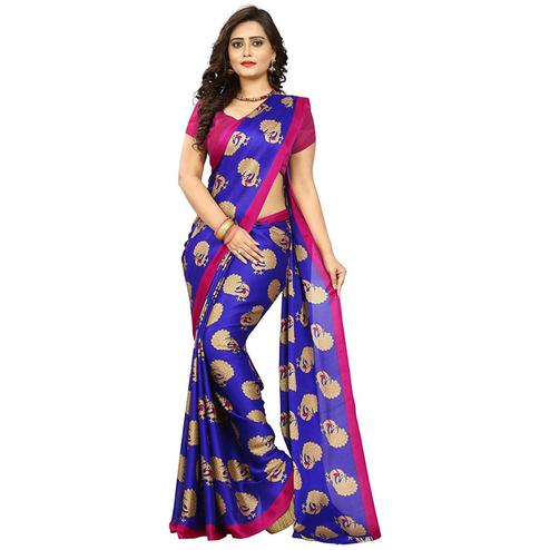 Glowing Blue Colored Casual Printed Art Silk Saree