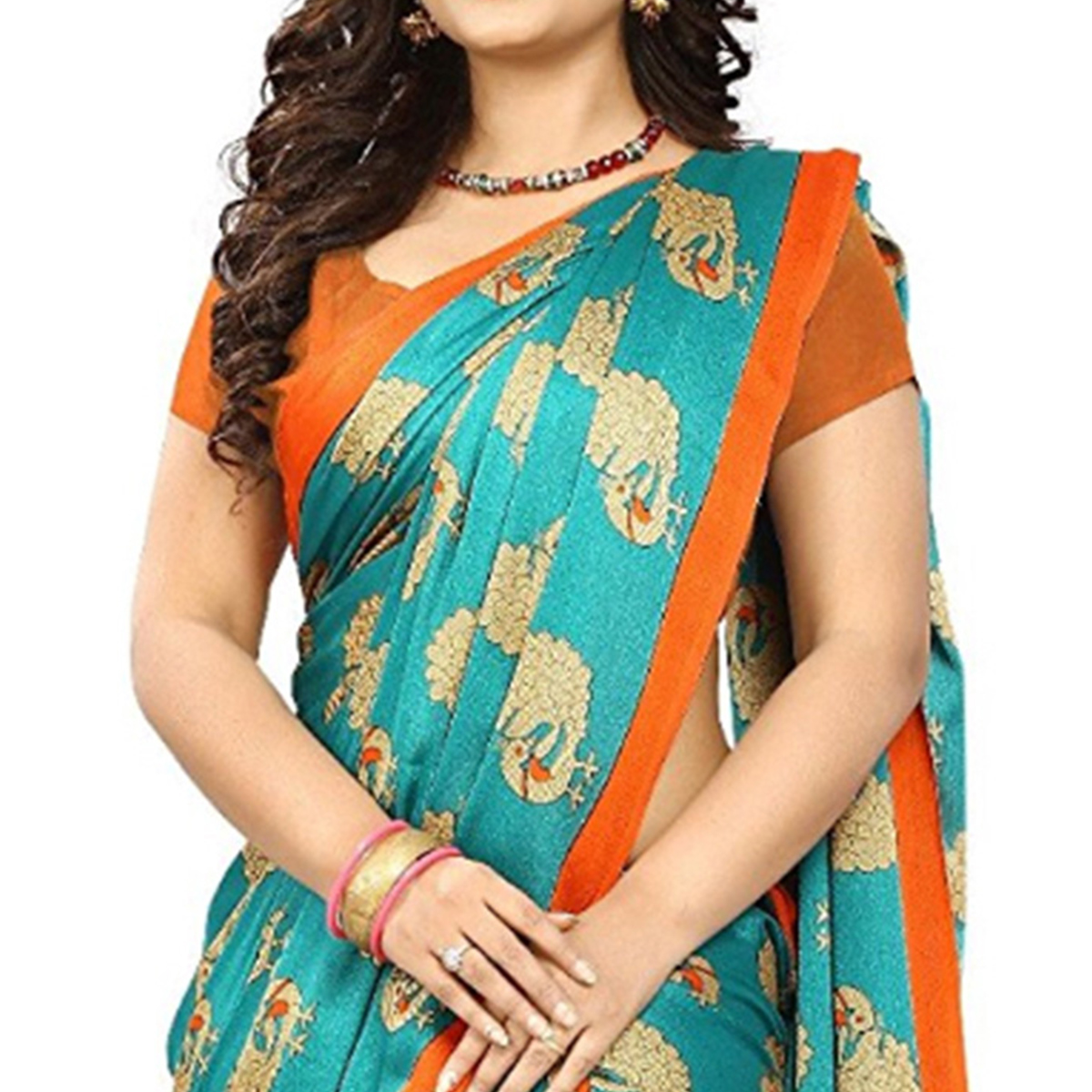 Lovely Aqua Blue Colored Casual Printed Art Silk Saree