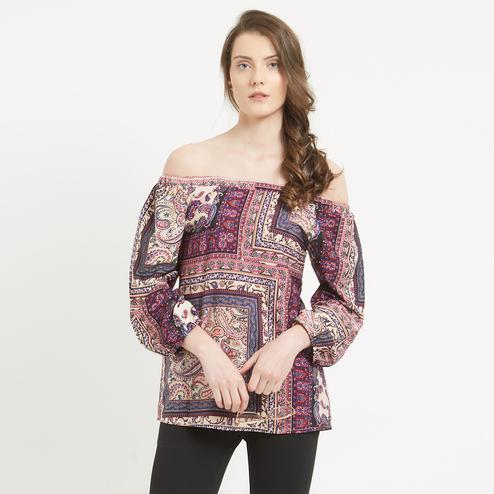 Gorgeous Multi-Colored Digital Printed Off-Shoulder Crape Western Top