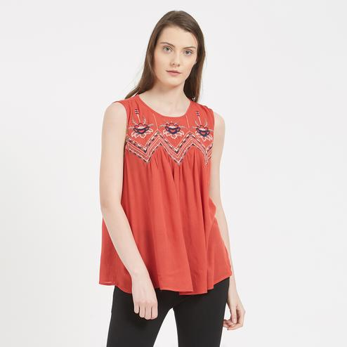 Elegant Orange Colored Embroidered Western Cotton Top