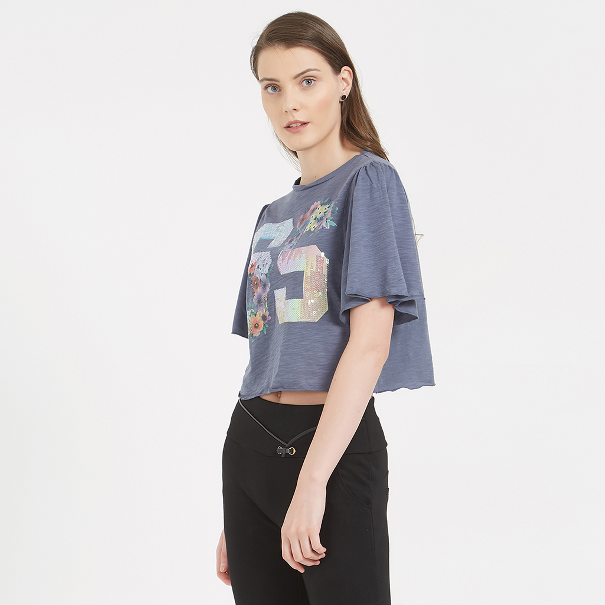 Smart Blue Colored Printed Western Cotton T-Shirt