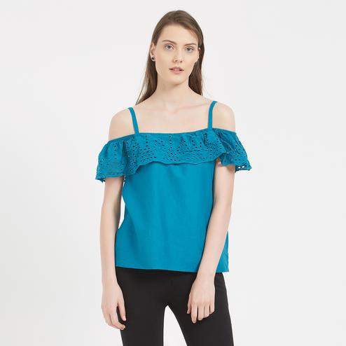 Pretty Teal Blue Colored Party Wear Western Cotton Top