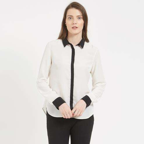 Classy White Colored Formal Wear Western Crape Shirt