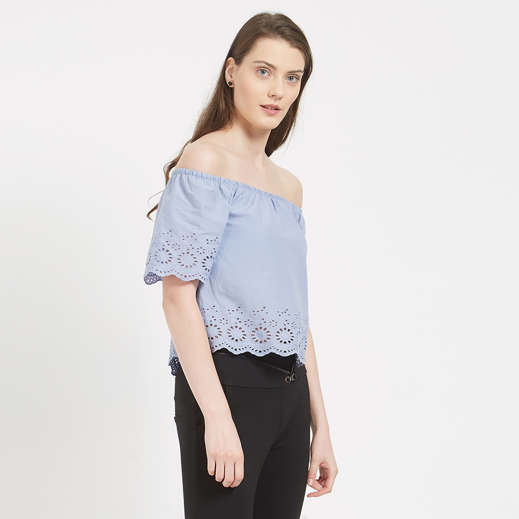 Blissful Blue Colored Casual Cotton Western Wear Top