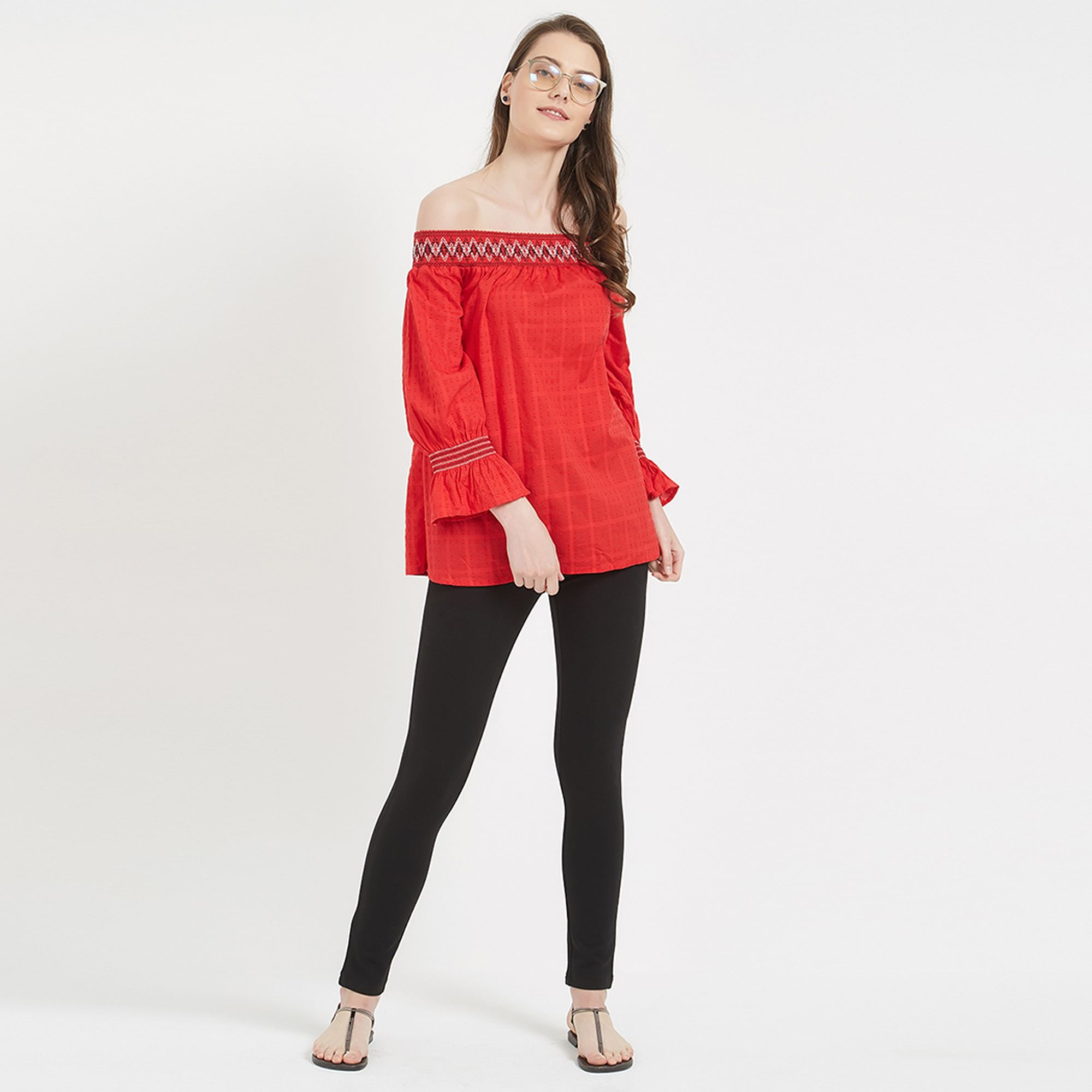 Ravishing Red Colored Party Wear Western Cotton Top