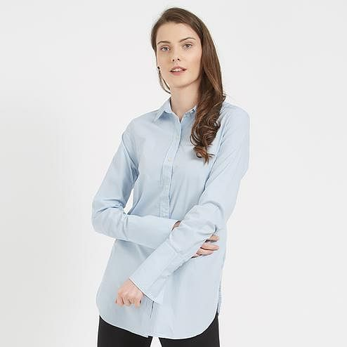 Smart Blue Colored Office Wear Western Cotton Shirt