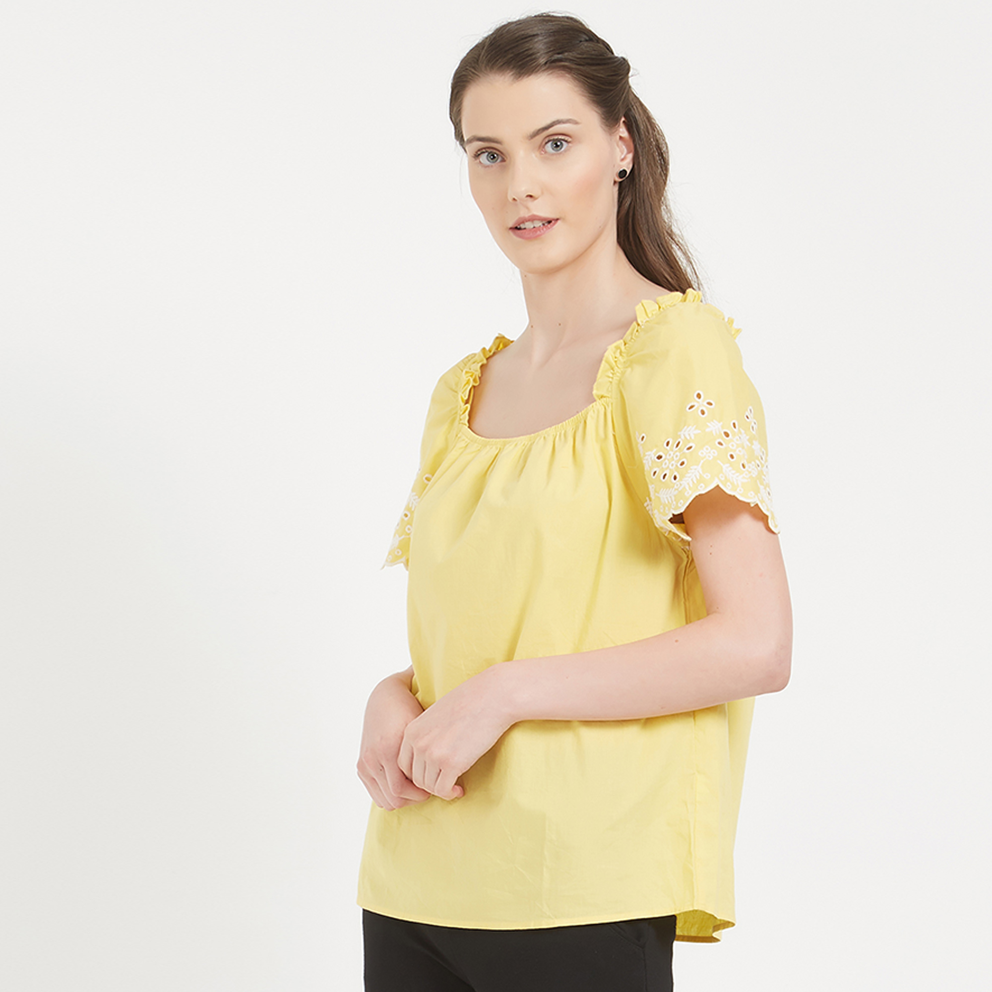 Bright Yellow Colored Party Wear Western CottonTop