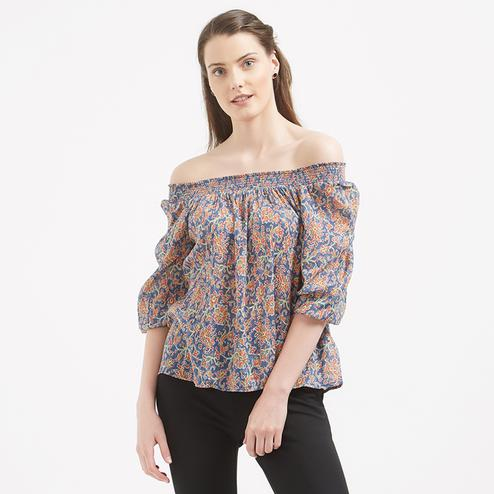 Elegant Multicolored Printed Western Cotton Top