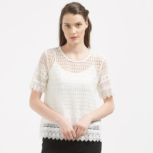 Charming White Colored Party Wear Western Net Top