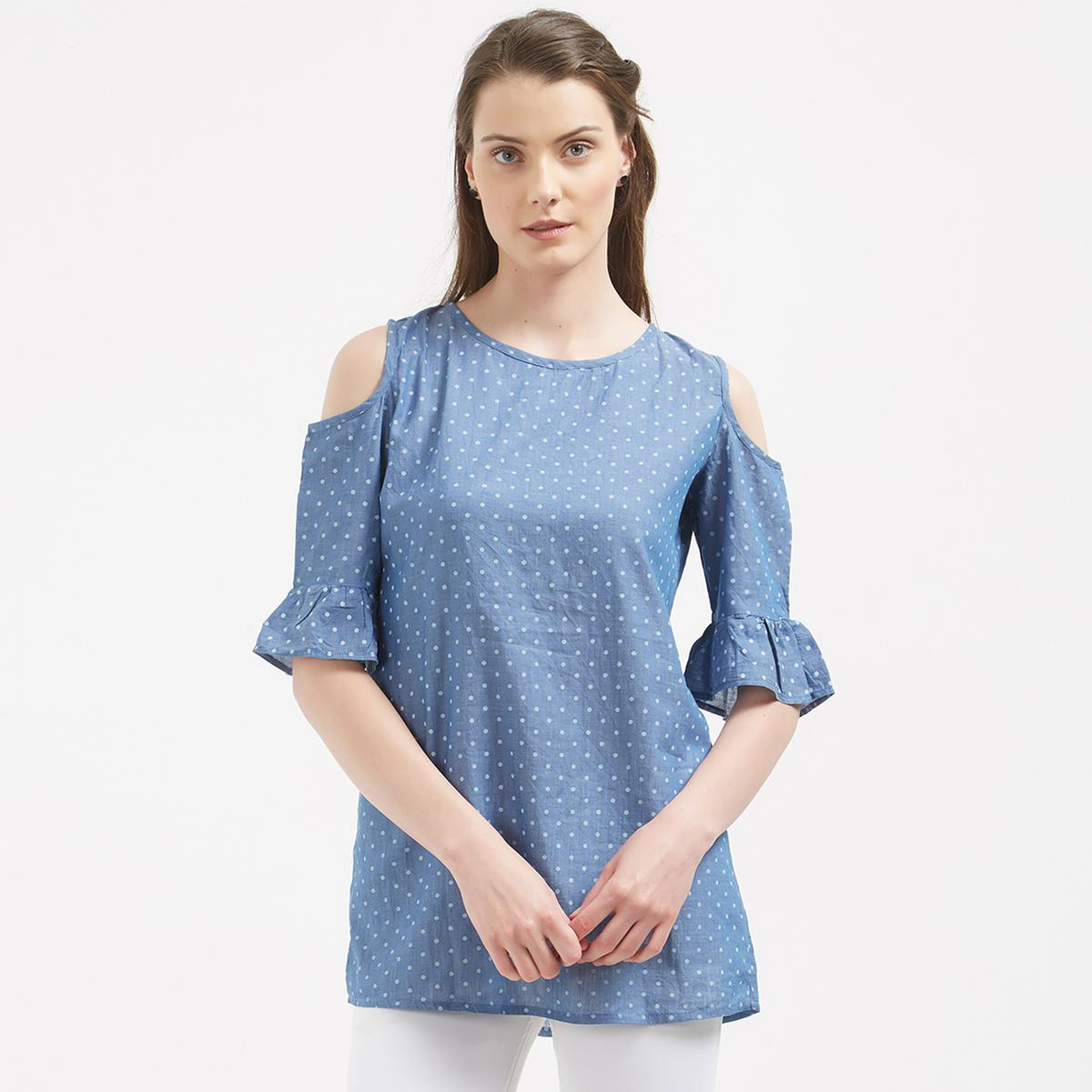 Pretty Blue Colored Party Wear Cotton Western Top