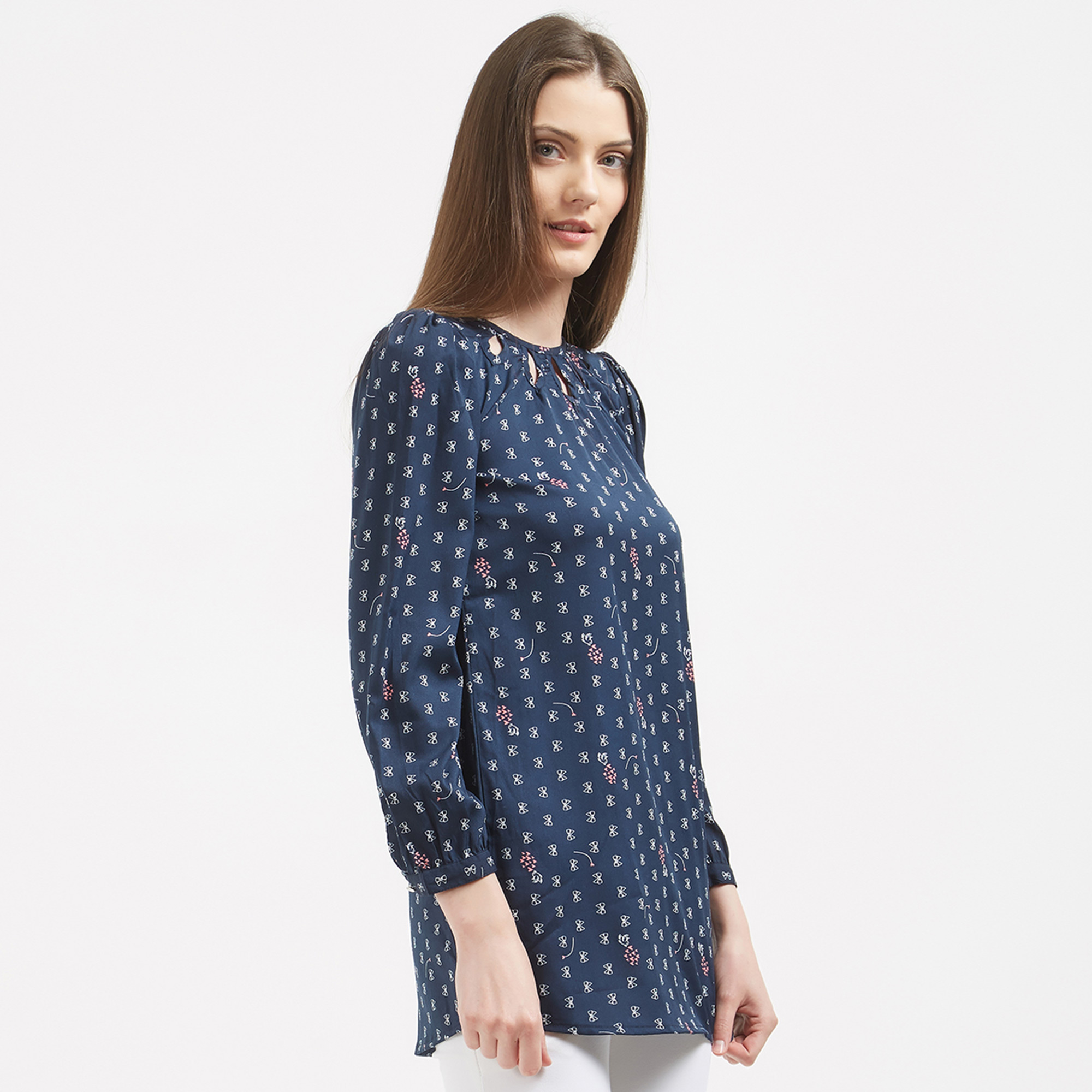 Adorning Navy Blue Colored Printed Casual Party Wear Crape Western Top