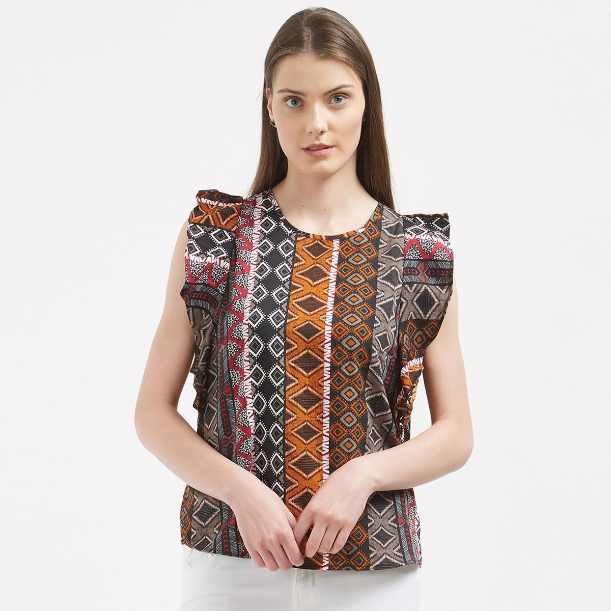 Attractive Multi-Colored Printed Casual Party Wear Crape Western Top
