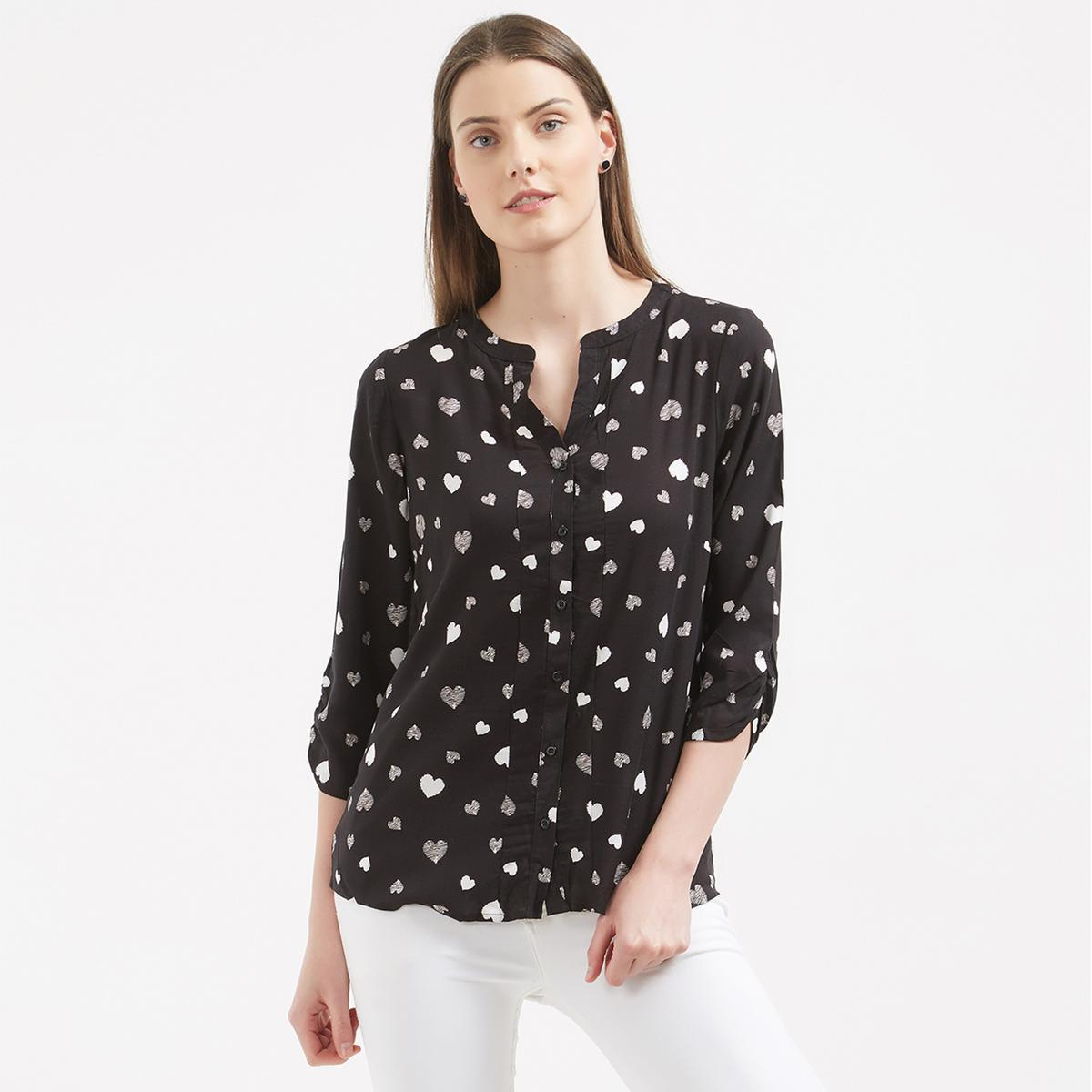 Smart Looking Black Colored Printed Casual Western Cotton Top