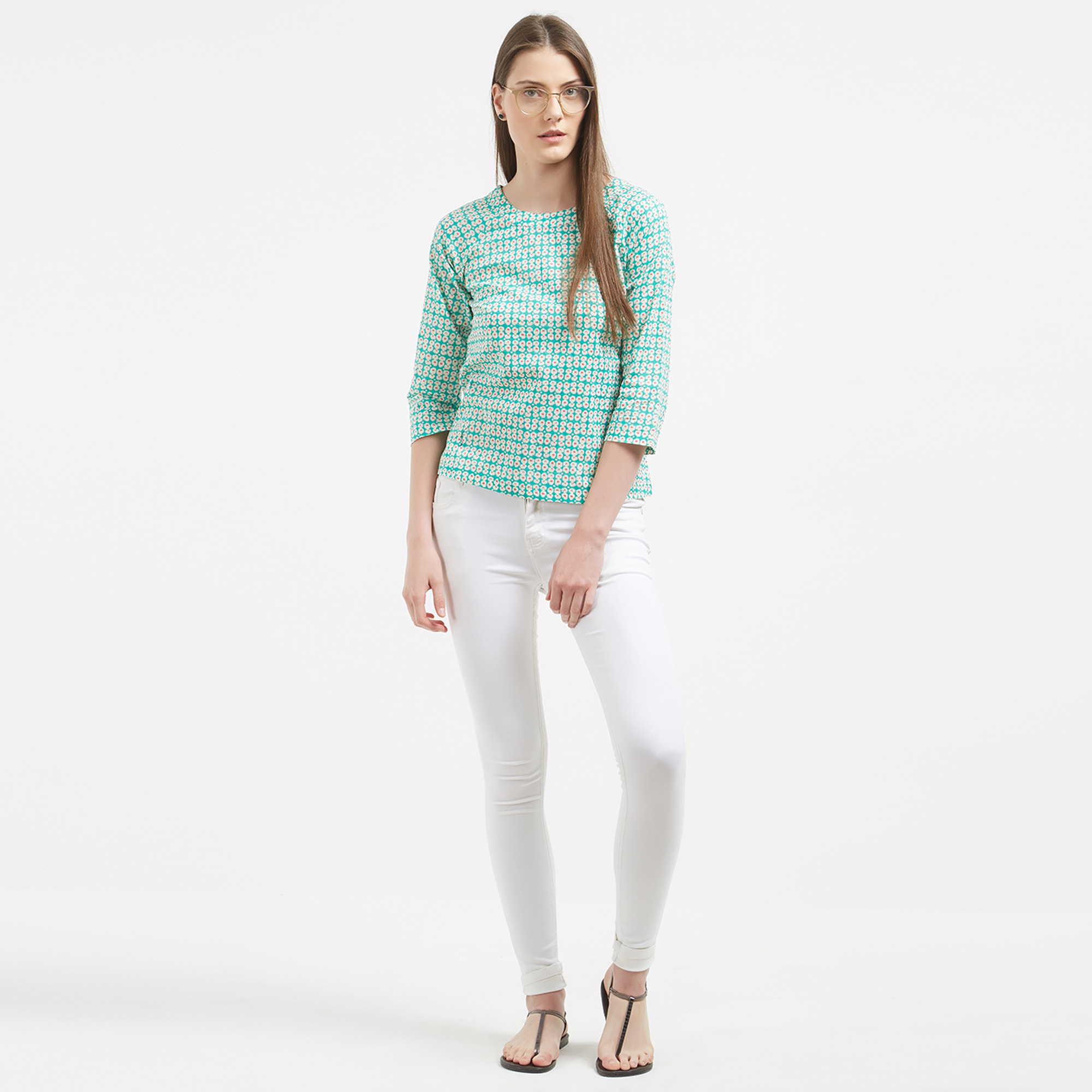 Blissful Mint Green Colored Casual Wear Crape Western Top