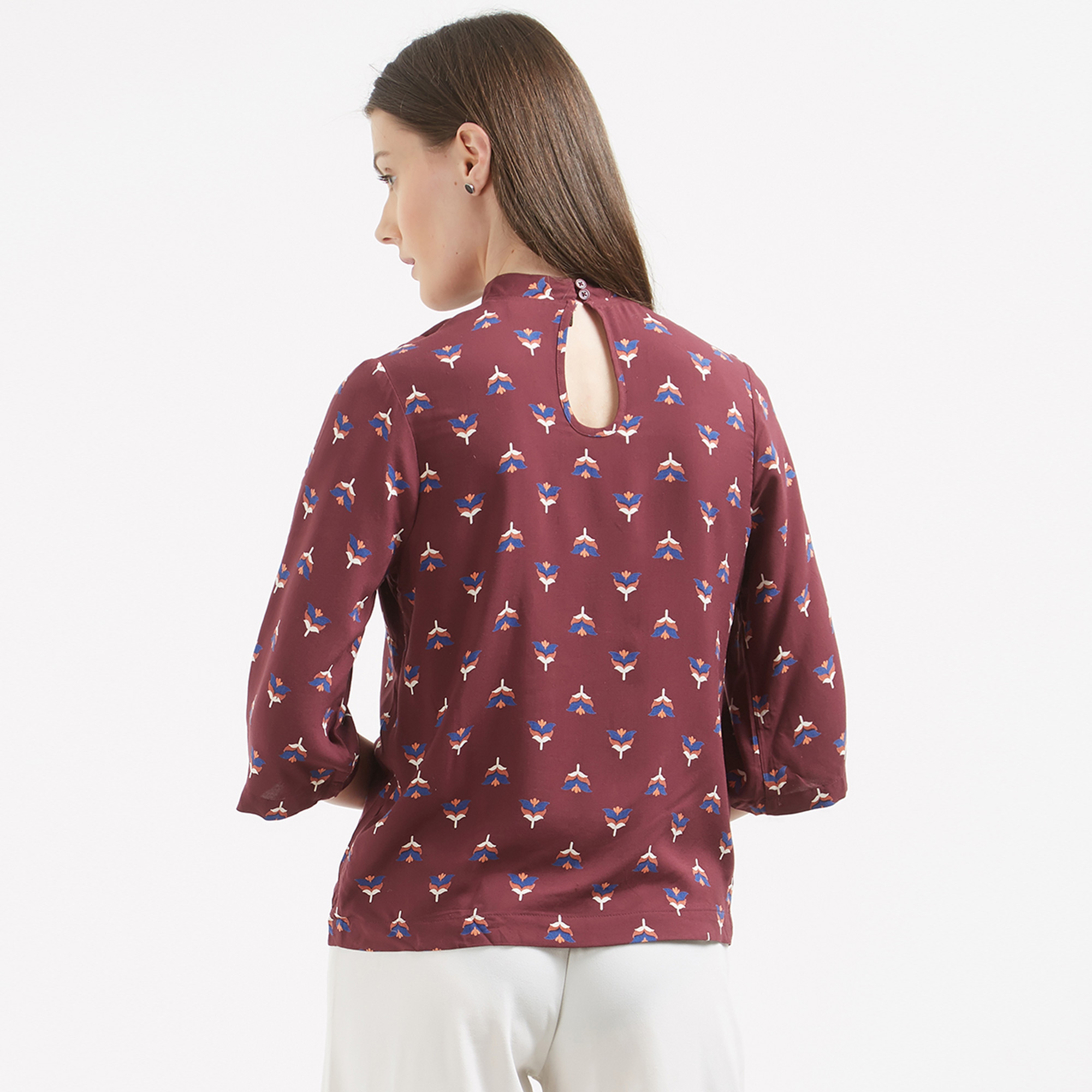 Magical Maroon Colored Printed Western Cotton Top
