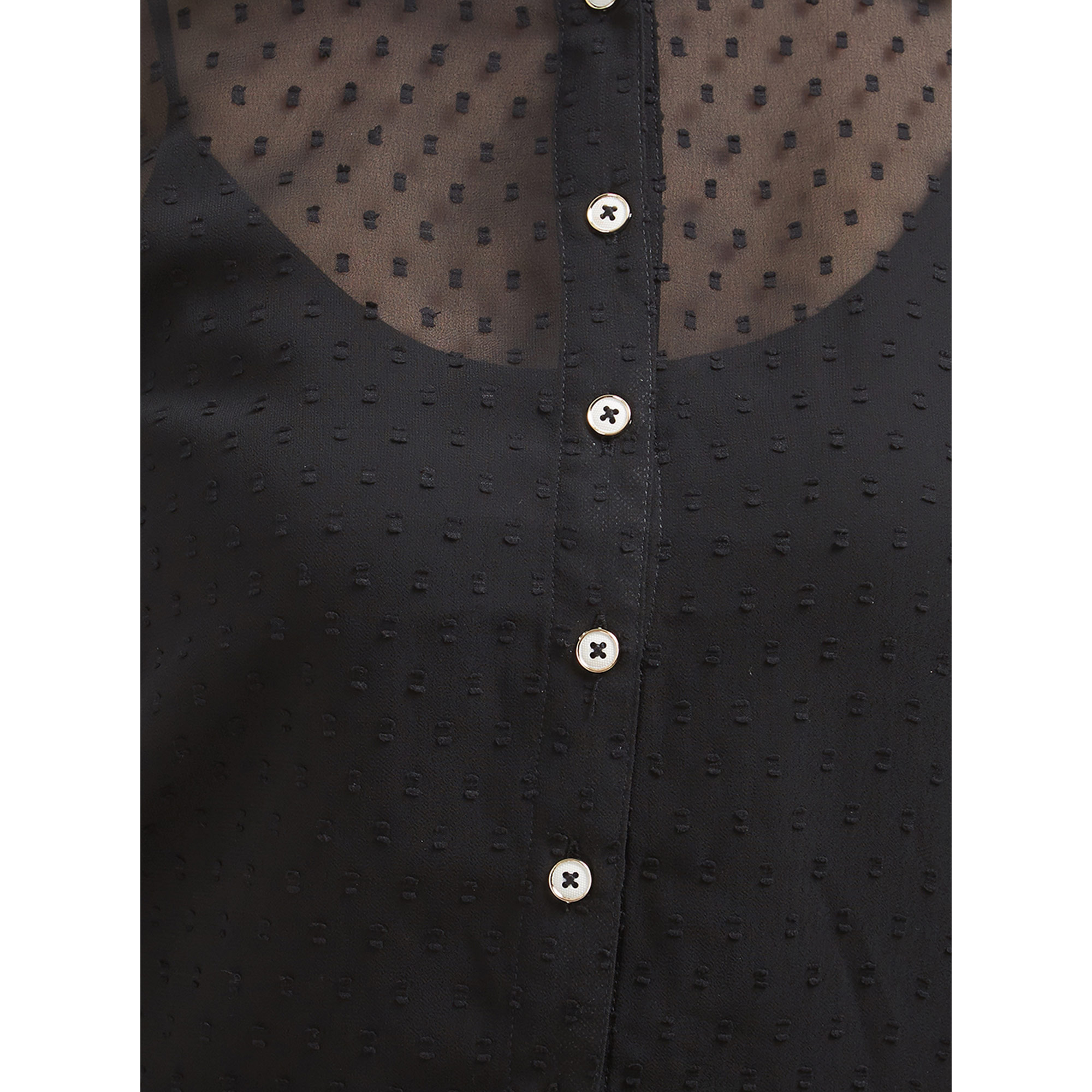 Bold Black Colored Casual Party Wear Western Georgette Shirt