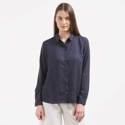 Classy Blue Colored Printed Formal Wear Western Cotton Shirt