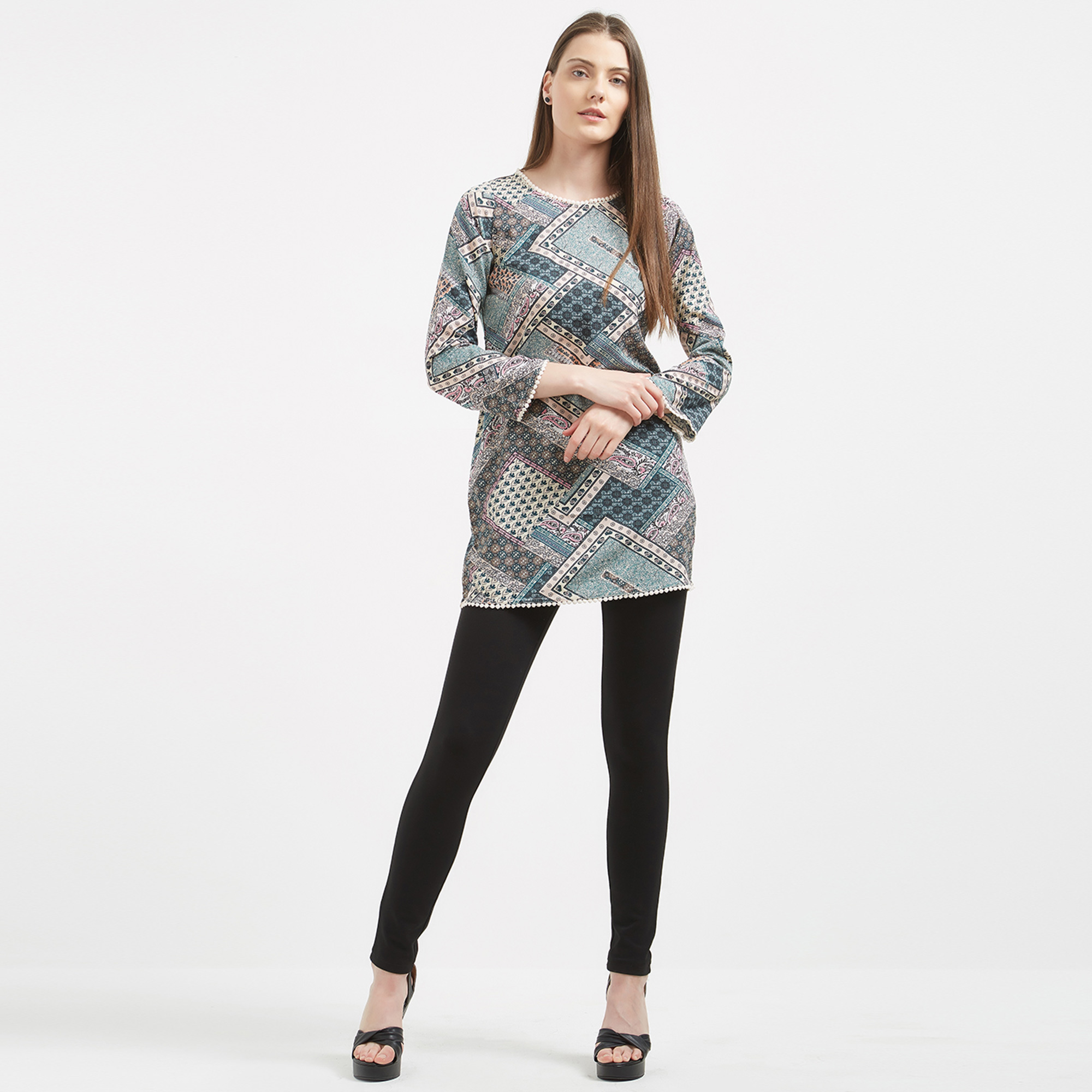 Adorning Blue Colored Printed Casual Wear Western Cotton Top