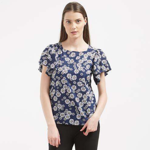 Blissful Blue Colored Printed Casual Western Wear Crape Top