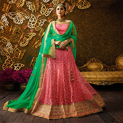 Charming Gajri-Green Designer Net Embroidered Lehenga Choli