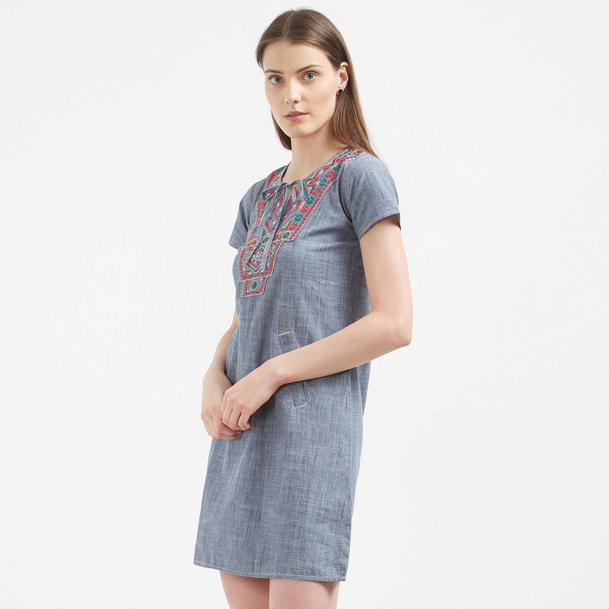 Charming Blue Colored Casual Wear Cotton Western Dress