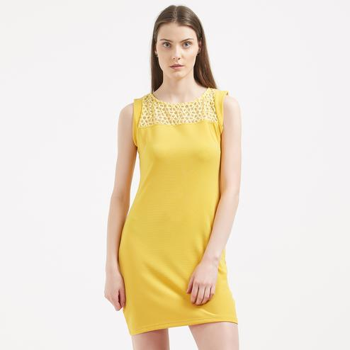 Glowing Yellow Colored Casual Wear Western Net Dress
