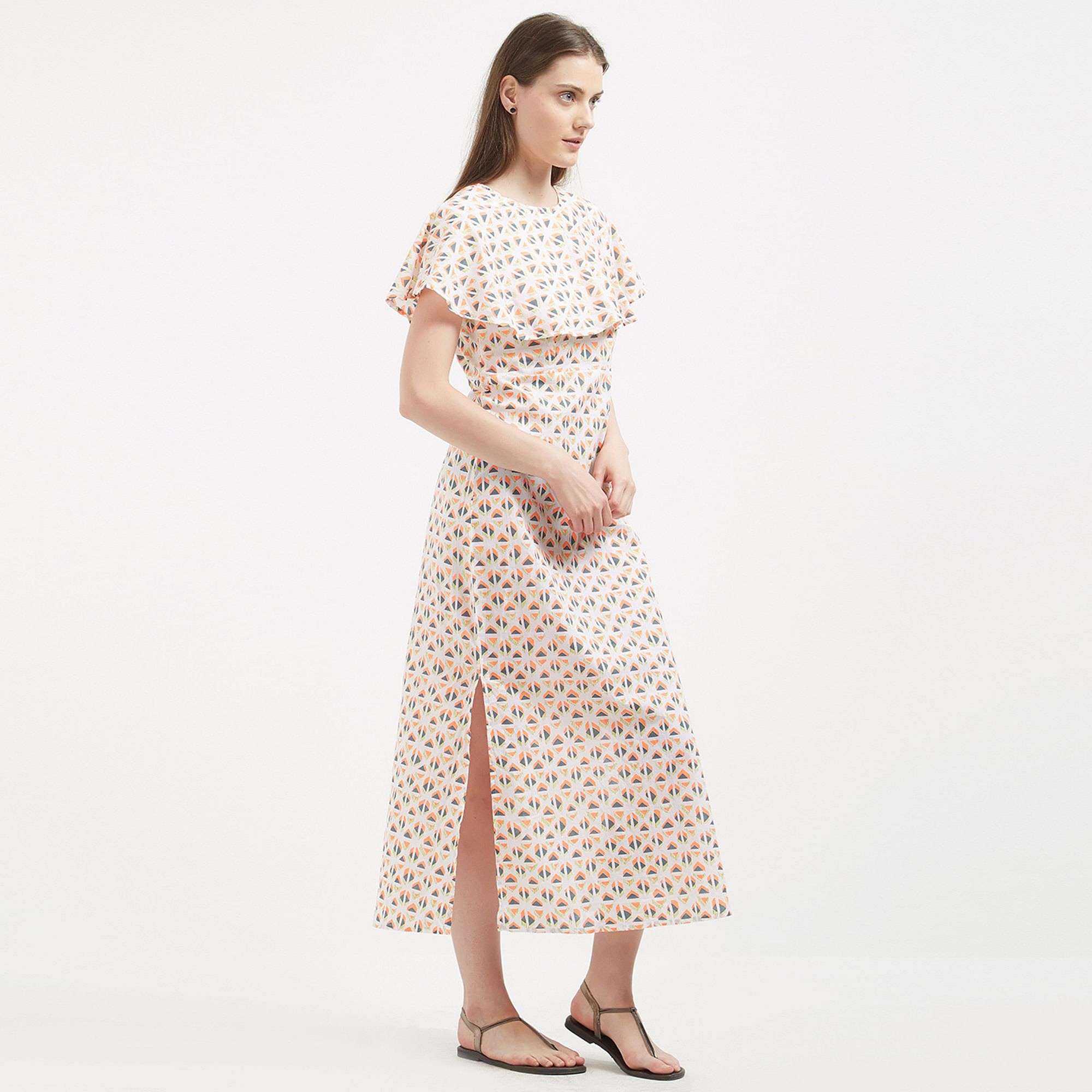 Adorable Cream Colored Printed Casual Wear Long Cotton Western Dress