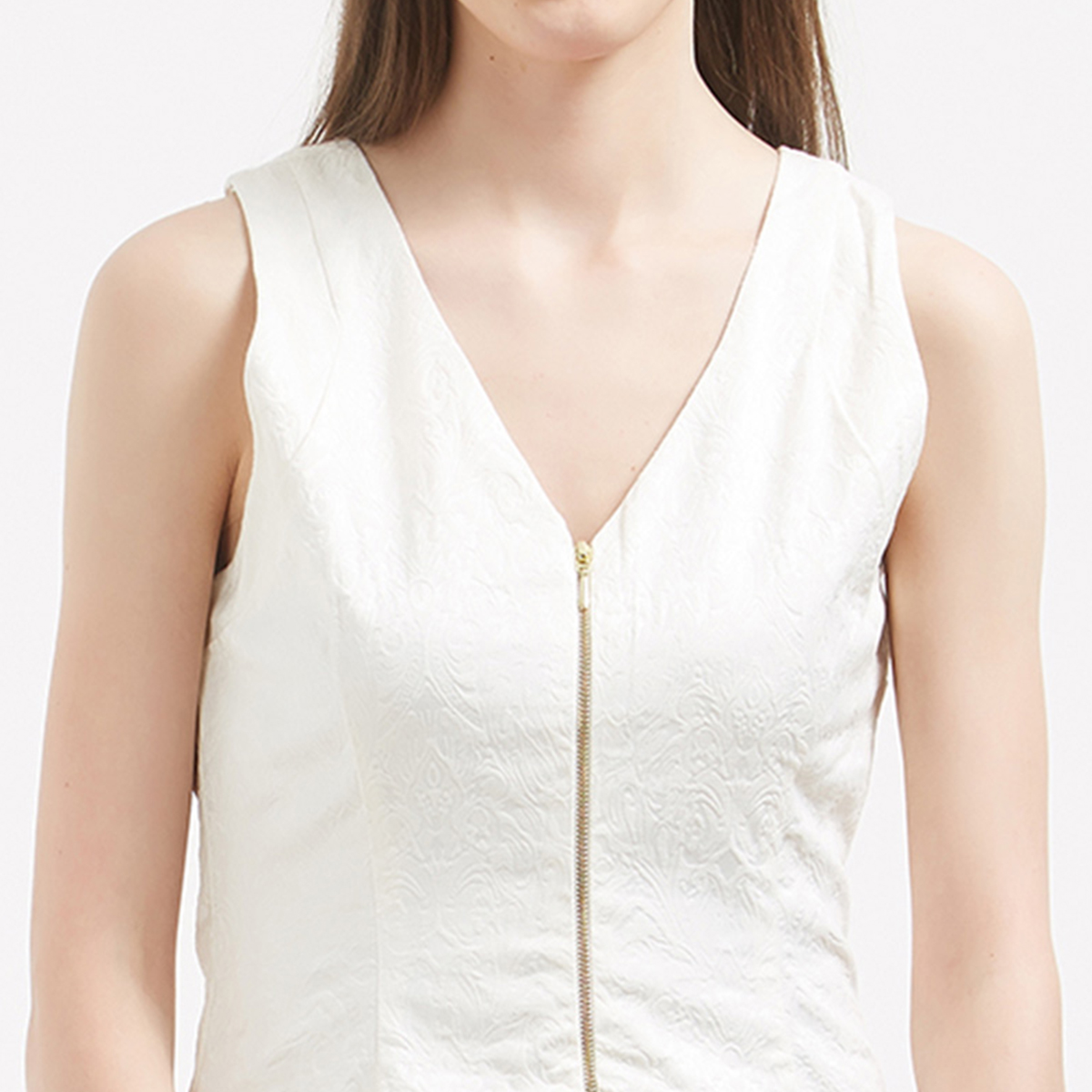 Classy White Colored Casual Wear Western Cotton Dress